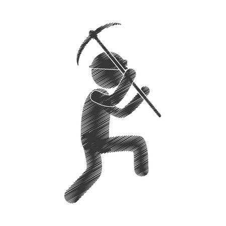 drawing worker mining pick axe helmet figure pictogram vector illustration Illustration