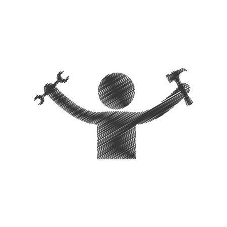 drawing man holding hammer wrench tools figure pictogram vector illustration Illustration