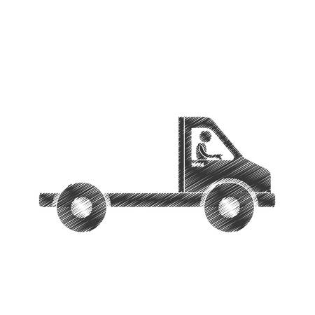 draiwng man towing truck service figure pictogram vector illustration eps 10 Illustration