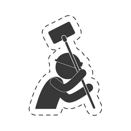 worker man mining tool helmet light figure pictogram vector illustration eps 10