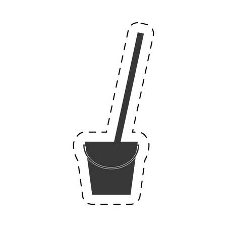 scrubbing: bucket mop cleaning cutting line vector illustration eps 10 Illustration