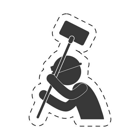 man mining tool helmet shovel figure pictogram vector illustration Illustration