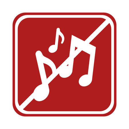 forbid: restricted music notes composite square sign vector illustration