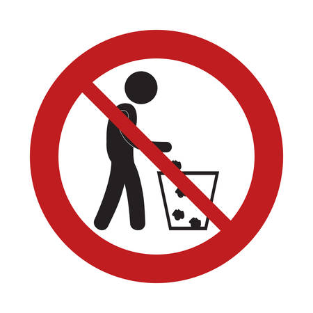 prohibited man throwing trash can sign road vector illustration