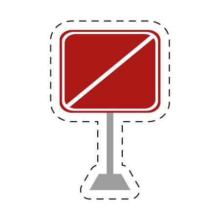 traffic pole: traffic prohibited square sign pole vector illustration eps 10