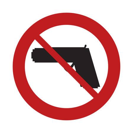 gun control: prohibited sign road gun weapon danger arm vector illustration eps 10