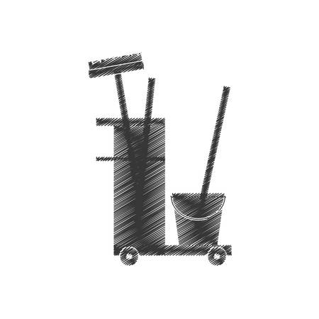 cleaning equipment broom bucket hand car illustration