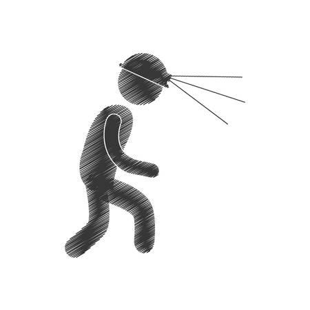 drawing worker mining helmet light head figure pictogram vector illustration eps 10 Illustration