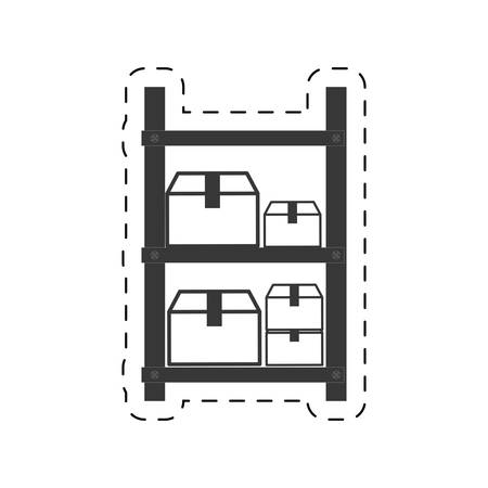 shelve: warehouse shelve boxes cargo vector illustration eps 10