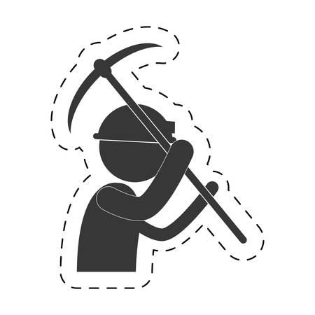 mining man with helmet pick axe figure pictogram vector illustration eps 10