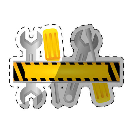 tools repair service emblem image sticker vector illustration design Illustration