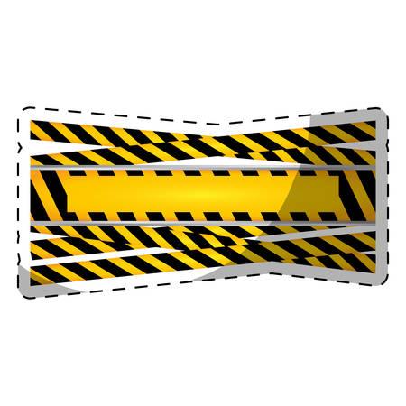 reconstruction: under construction tape blank emblem image vector illustration design