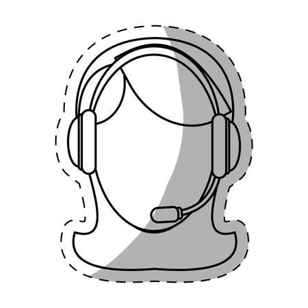 telemarketing: female call center telemarketing tech service worker wearing headset icon image vector illustration design Illustration