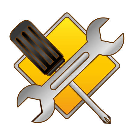 locksmith: technical workshop stock emblem icon, vector illustration image