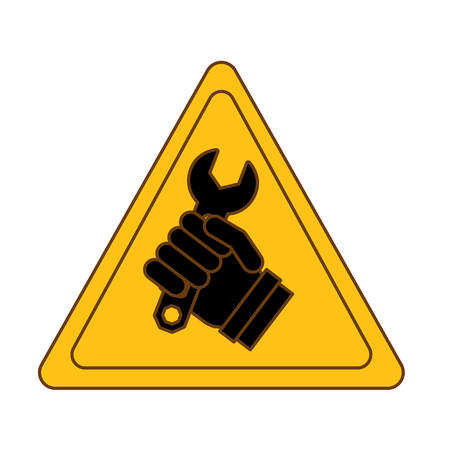 Tool in hand technical service emblem icon, vector illustration