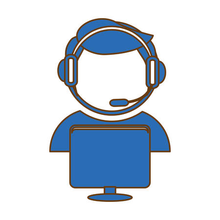 telemarketing: call center telemarketing tech service worker wearing headset icon image vector illustration design