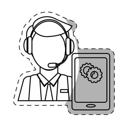 telemarketing: call center telemarketing tech service worker wearing headset on cellphone screen  icon image vector illustration design Illustration