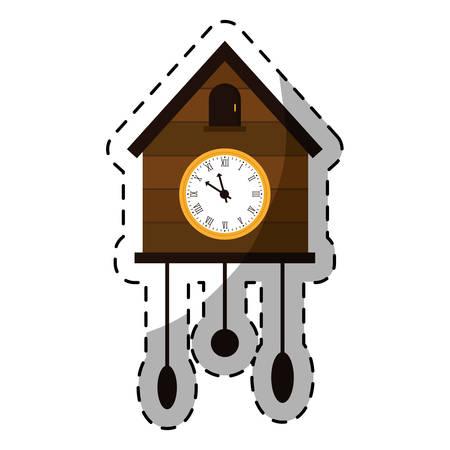reloj cucu: imagen del icono del reloj de cuco marrón, diseño ilustración vectorial Vectores