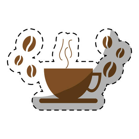 brown cup of coffee icon image, vector illustration