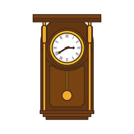 reloj de pendulo: brown pendulum clock icon image, vector illustration design
