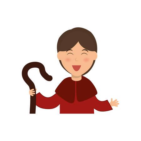 Shepherdess cartoon character icon vector illustration graphic design Illustration