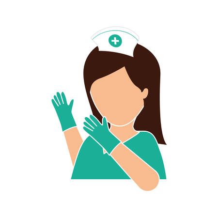 surgical glove: nurse with gloves icon image, vector illustration design