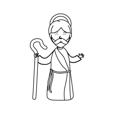 god walking: Holy joseph cartoon icon vector illustration graphic design Illustration