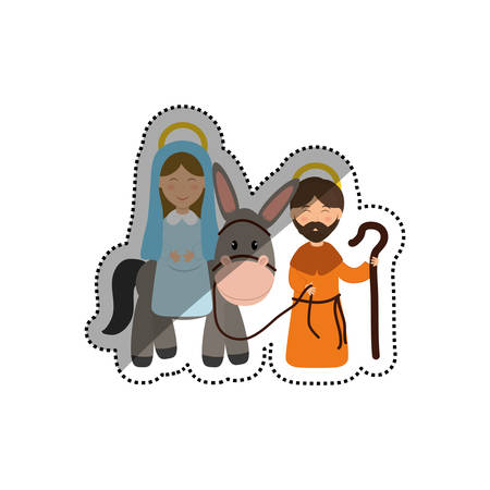 Holy mary and joseph icon vector illustration graphic design Illustration