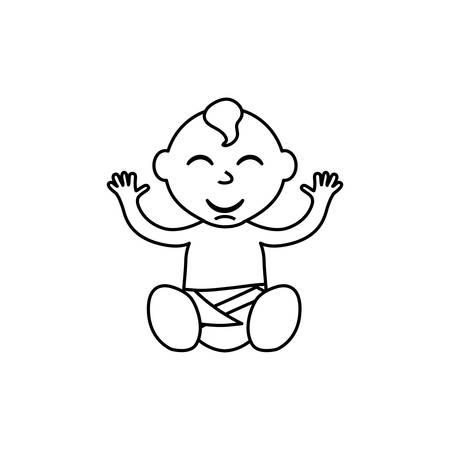 black baby boy: little baby cartoon icon vector illustration graphic design Illustration