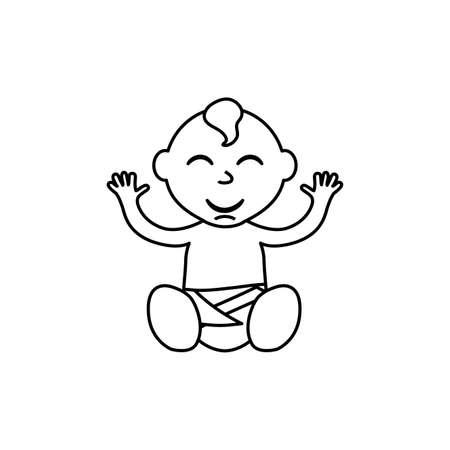 black baby boy: little baby cartoon icon vector illustration graphic design Stock Photo
