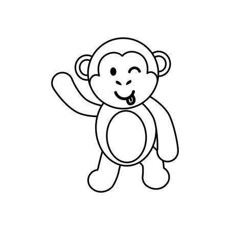 Cute Monkey Cartoon Icon Vector Illustration Graphic Design Royalty