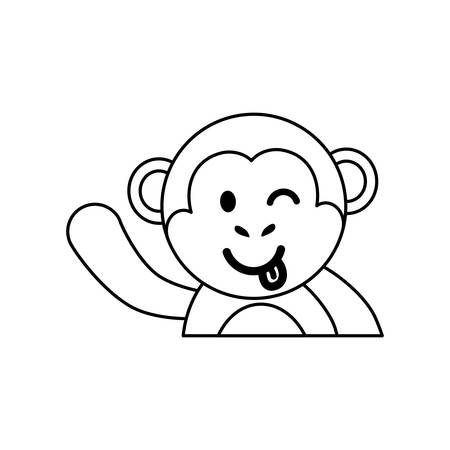 flirting: Cute monkey cartoon icon vector  illustration  graphic design