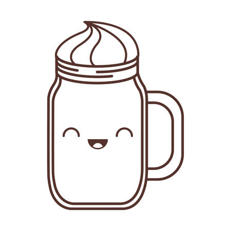 kawaii jar handle cream liquid vector illustration eps 10