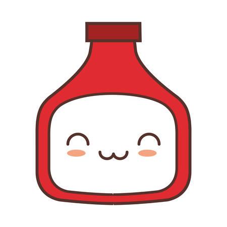 bottle sauce tomato kitchen vector illustration Illustration