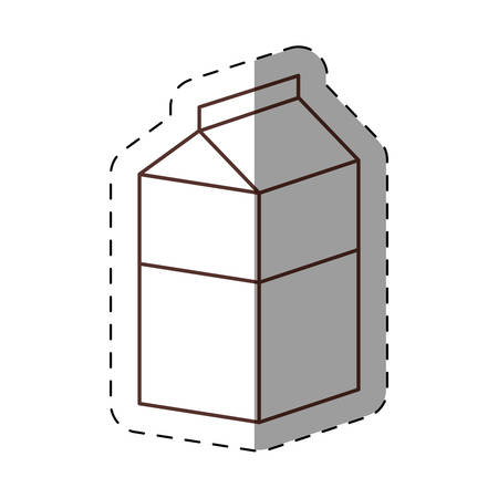 diecut: box carton milk juice cut line vector illustration eps 10