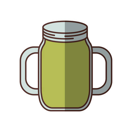 green jar jam delicious juicy handle shadow vector