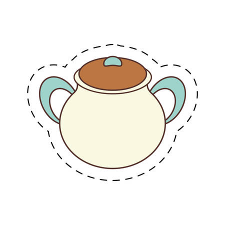 cut line: pottery kitchenware bowl home cut line vector illustration eps 10