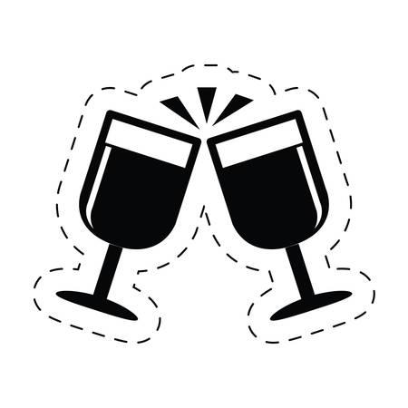cups champagne drink celebration clink pictogram vector illustration