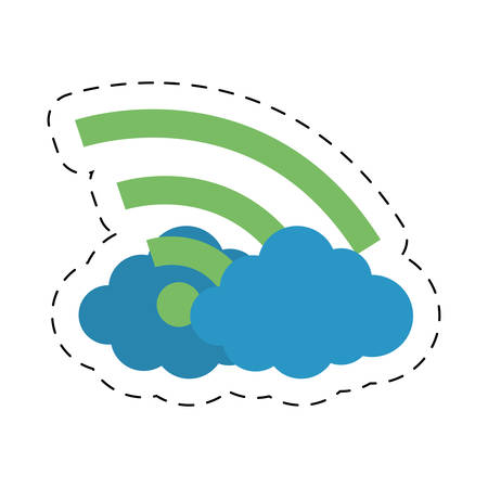 cloud internet wifi technology cut line vector illustration