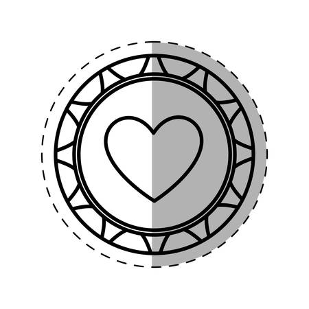 casino poker chip heart thin line vector illustration eps 10 Illustration