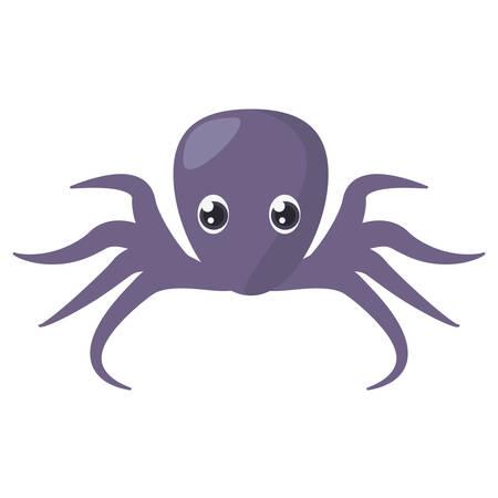 purple octopus sea life vector illustration Illustration