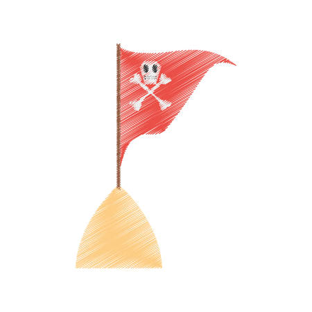 piracy: drawing red pirate flag with skull bone sand sea vector illustration eps 10