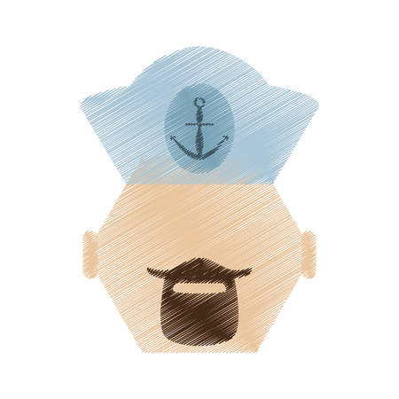 captain cap: drawing face sailor man bearded cap nautical vector illustration