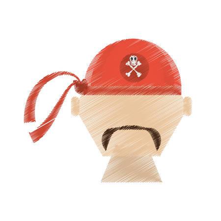 drawing face pirate red bandanna corsair bones vector illustration