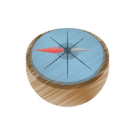 compas de dibujo: dibujo brújula marina localización herramienta ilustración vectorial eps 10