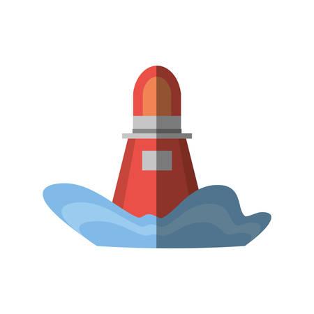 red marker buoy ocean light navigation shadow vector illustration eps 10 Illustration
