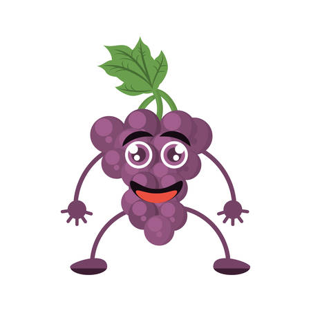 cute grape raising character fruit vector illustration eps 10
