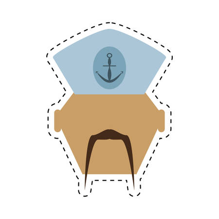 captain cap: sailor man bearded cap nautical cut line vector illustration eps 10