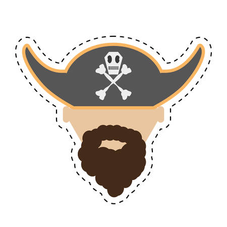 costume eye patch: pirate face beard hat with skull bones cut line vector illustration eps 10