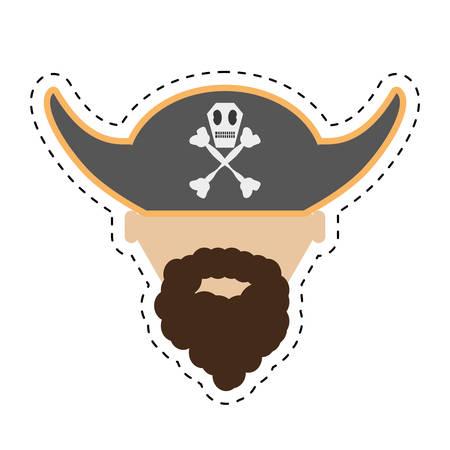 calavera caricatura: sombrero cara barba pirata con los huesos del cráneo ilustración corte línea vector eps 10 Vectores